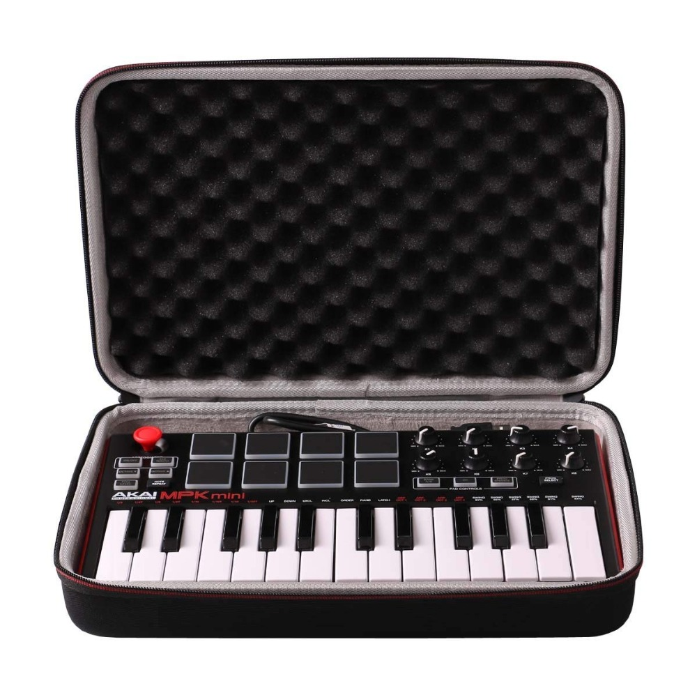 LTGEM Travel Carrying Case For Akai Professional MPK Mini MKII & MPK Mini Play | 25-Key USB MIDI Drum Pad & Keyboard Controller