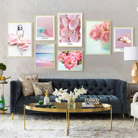 7PCS Decorative Paintings Flower Wall Art Green Plant Canvas Print Wall Pictures Abstract Art Poster for Living Room Home Decor