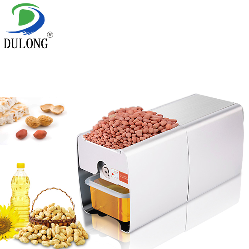 Mini home 304 stainless steel oil pressers to extract soybean peanut sunflower seeds oil automatic vegetable oil press machine automatic small peanut oil press machine oil soybean presser 220v 200w stainless steel brand new for home use