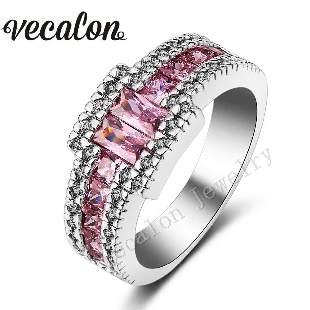 Vecalon Men Engagement Band Pincess cut pink stone 5A Zircon 10KT ...