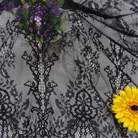 1 piece 100% black polyester sector lace embroidered French lace fabric suitable for sewing crafts