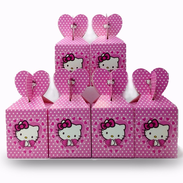 72709fcec47d 6pcsset Hello Kitty Paper candy Box Cartoon Happy Birthday Decoration Theme  Party Supply Festival Kids Girl