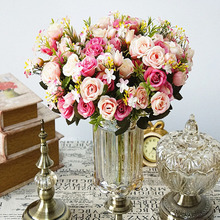 13 head / 1 beam simulation green leaf bouquet small lace rose home vase autumn decoration
