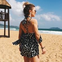 Ruoru European Style Halter Cold Shoulder Summer Jumpsuit Women Strap Polka Dot Short Overalls Casual Backless Playsuit Holiday