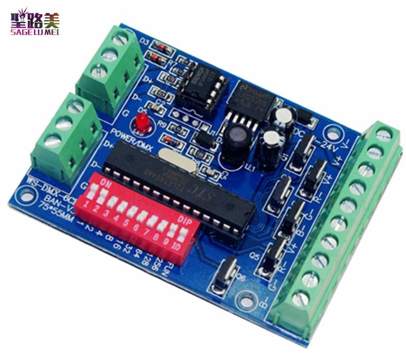 6 channels 6CH Easy DMX Controller,RGB LED dmx512 dimmer,LED decoder,DC5V-24V,for led strip lights lamp bulb,4A each color