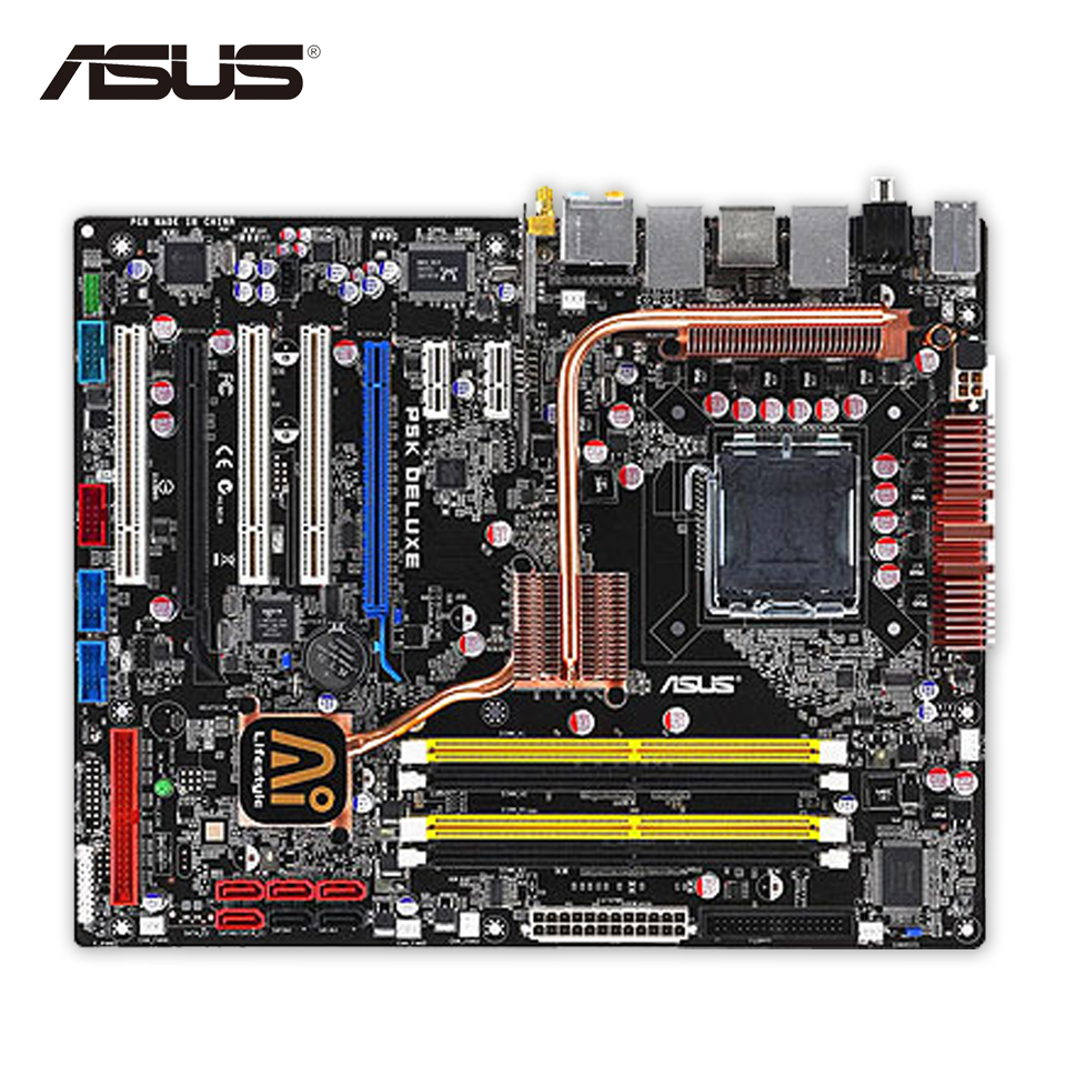 все цены на Asus P5K Deluxe/WiFi-AP Desktop Motherboard P35 Socket LGA 775 DDR2 SATA2  ATX Second-hand High Quality онлайн