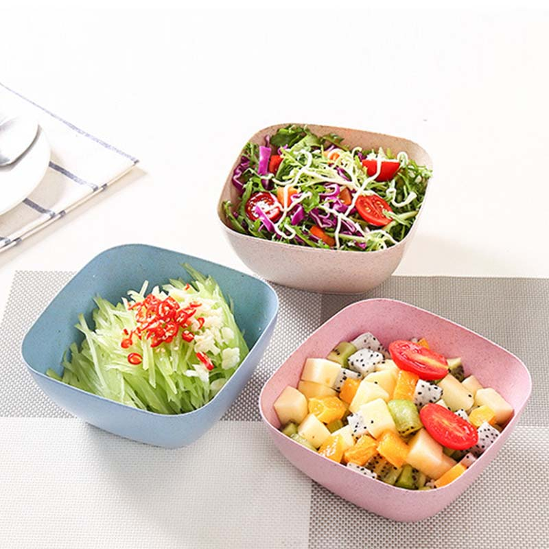 Salad Bowls Soild Square Wheat Straw Bowl Vinegar Seasoning Solid Soybean Dish Sauce Salt Snack Candy Small Plate Food Container