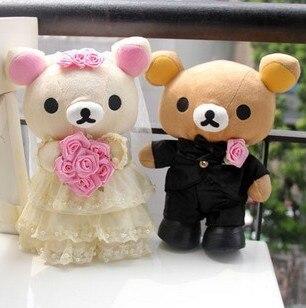 Jolie robe de mariée ours heureux poupée voiture poupée lit poupée cadeau de mariage heureux environ 30 cm 0524