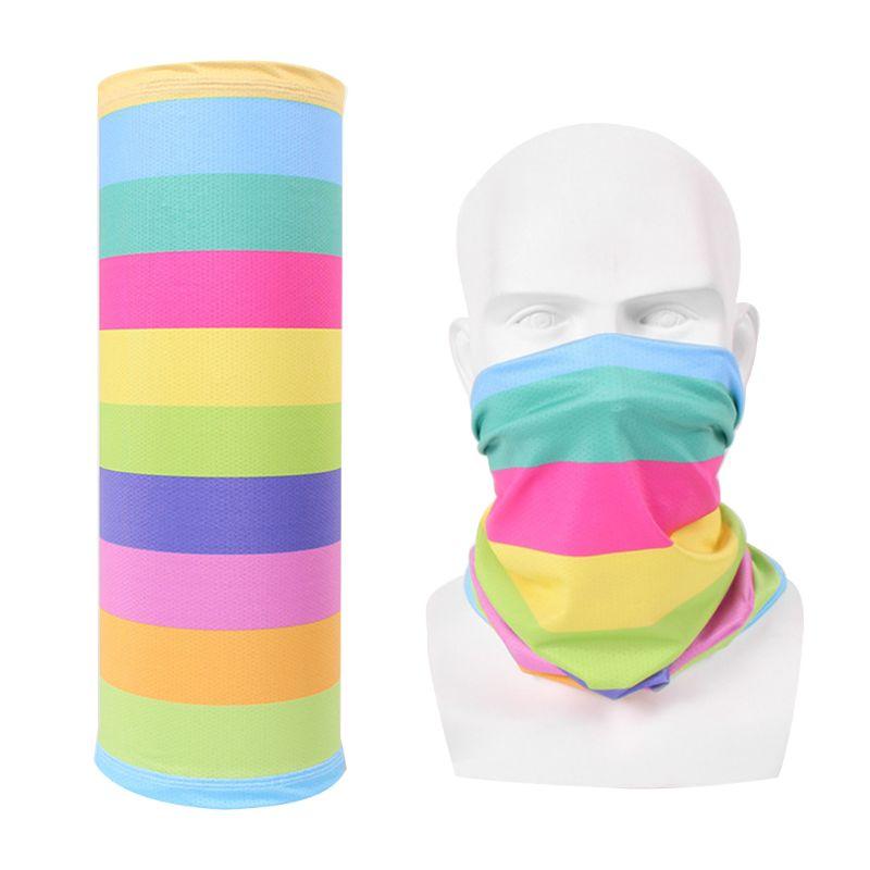 14 Styles Unisex Traceless Magic Neck Scarf Candy Colored Cartoon Animal Tube Headband Ice Silk Cycling Turban Face Mask Bandana