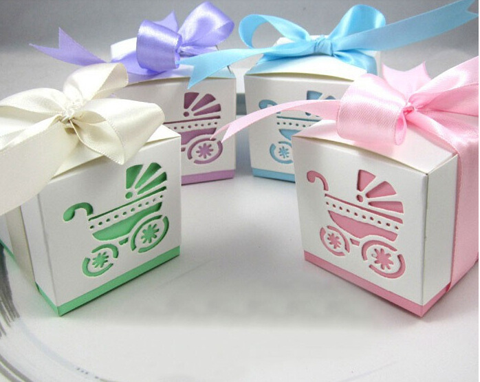 Wholesale 20 Pcs Baby Shower Baby Stroller Hollow Favor Candy Boxes