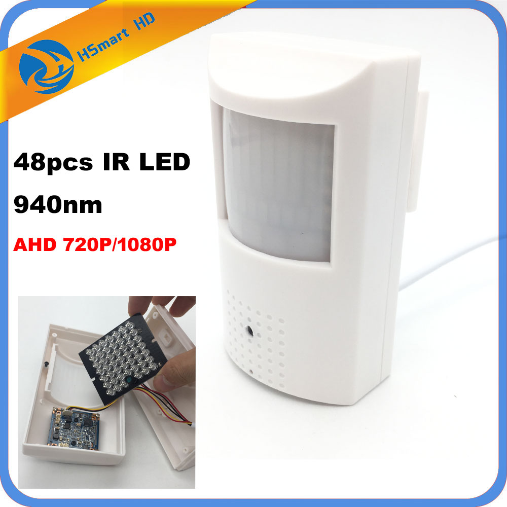 HD AHD 1080P 2MP 3.7mm mini Lens Mini-box 720P AHD Security PIR Motion Sensor BOX CCTV Security BNC Camera 48pcs 940nm IR LED