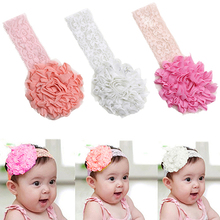 Hot Baby Toddler Girl Lace Flower Hair Band Headband Cute Soft Elastic Headdress NJ9 7FP5