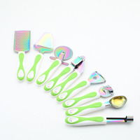 8Pcs Multipurpose Kitchen Tool Sets Green PP Handle With Stainless Steel Titanium Color Plated Kitchenware