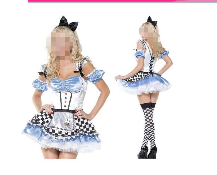 Alice Wonderland Dress Maid Cosplay Fantasia Carnival Halloween Costumes Women Plus Size S-2XL - rockabilly dress costume clothes mfg store