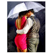 Painting By Number 40x50cm,Hobby DIY,Lovers Under Umbrella,Kissing Couple Paint Numbers