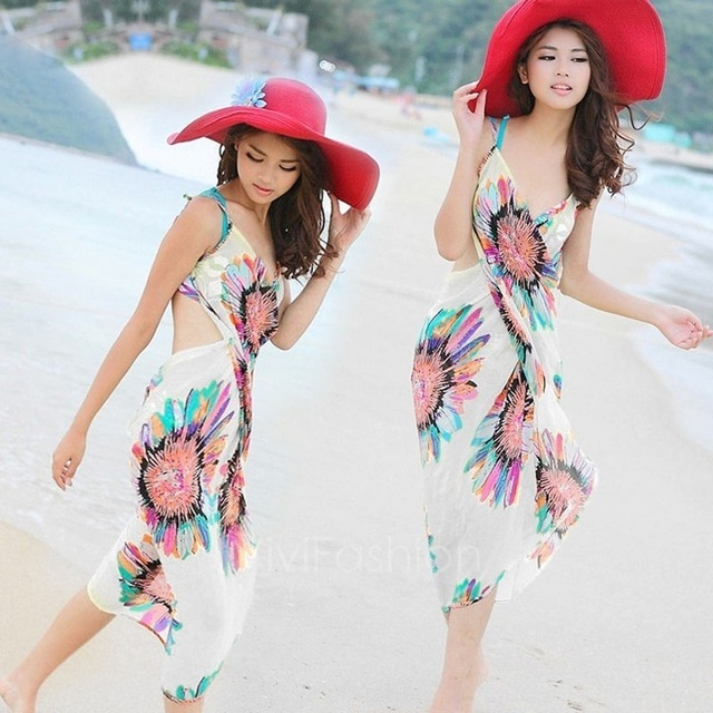 45a0f8c690 Fashion Dresses New Deep V Wrap Chiffon Swimwear Bikini Cover Up Sarong  Beach Shawl Scarves Dress Hot