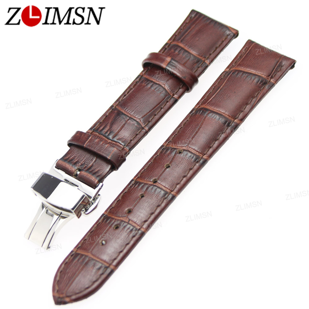 ZLIMSN Genuine Leather Watch Bands Strap Men Replacement Belt 18 20 22 24mm Black Brown 316L Stainless Steel Butterfly Buckle zlimsn genuine leather watchbands black brown yellow thick watch band strap belt stainless steel buckle brushed 20 22 24 26mm