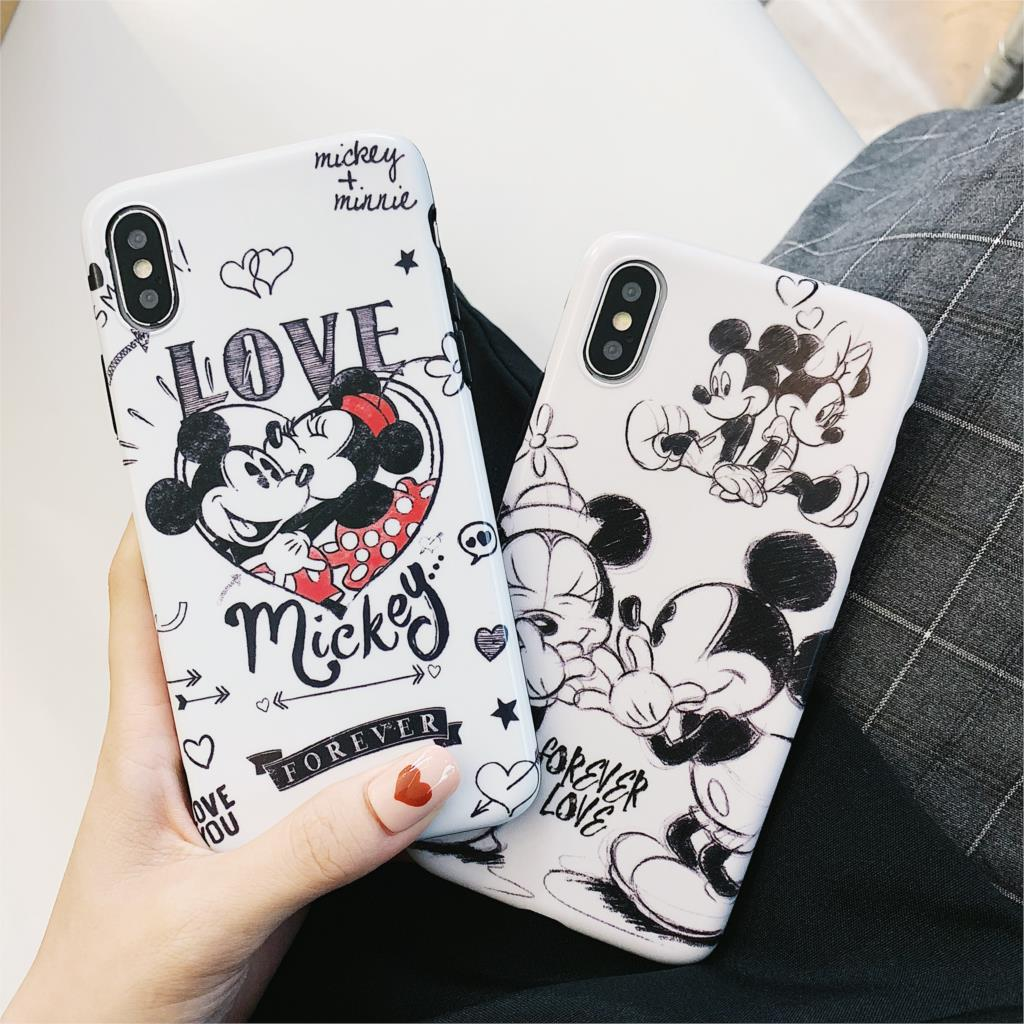Love Mickey Minnie Funda For Iphone 7 Case Cute Cartoon IMD Phone Case For Iphone X XR XS Max 6 6S 7 8 Plus Cover Matte Capa