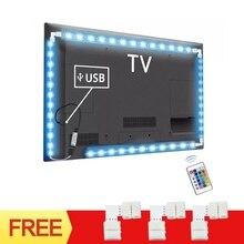 Luz de fundo RGB USB para TVs, luzes LED flexíveis 1M 2M 3M faixa de LED com conector de 90 graus 24 chaves controle para PC