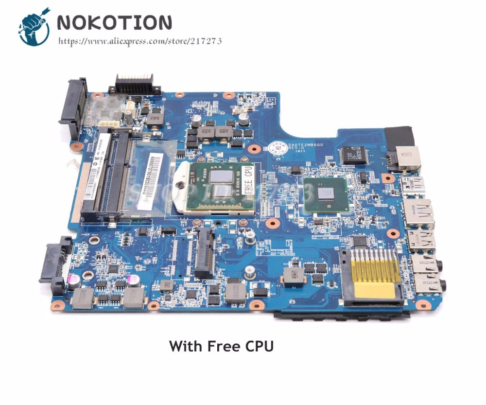 NOKOTION Laptop Motherboard For Toshiba Satellite L640 L645 MAIN BOARD A000073700 DA0TE2MB6G0 HM55 DDR3 Free Cpu