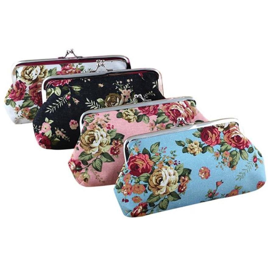 Women Lady Retro Vintage Clutch Bag Flower Small Snacks Purse Hasp Coin Bag Change Pouch Women Letter Canvas Bags Porte aerlis men women canvas retro 6inch phone portable small waist bag