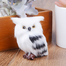 Kiwarm Cute Lovely Owl Bird Ornament Decoration Adornment Simulation 5*4.5*7cm for Home Decor Gift White Black Furry Christmas(China)