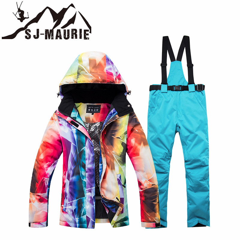 SJ-MAURIE femmes Ski costume hiver veste pantalon snowboard ensembles femme hiver coupe-vent imperméable Sportswear neige Ski veste