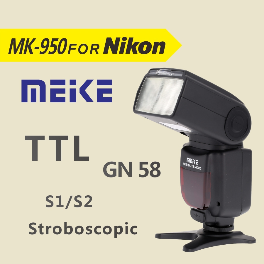 MEKE Meike MK 950 TTL i-TTL Speedlite 8 Bright Control Flash for Nikon D7100 D7000 D5200 D5100 D5000 D3100 D3200 D600 D90 D80 meike mk 950 mark ii ttl slave wireless flashgun speedlite flashlight for nikon