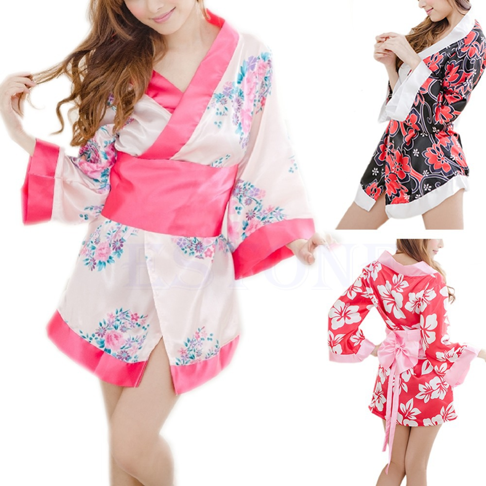 Sexy Sexy Floral Japanese Kimono Stage Sleepwear Lingerie Dress Bath Robe Paja ma