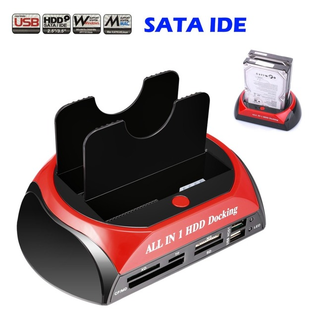 "Newest All in 1 HDD Docking Station Dual Double 2.5""/3.5"" IDE SATA External HDD Box Card Reader USB Hard Drive Disk Dock"