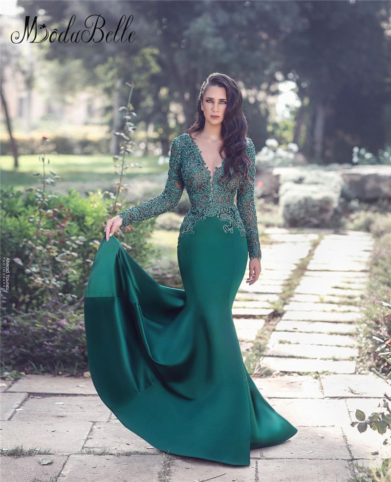 Modabelle Mermiad Hunter Evening Dresses Long Sleeves 2019 Custom Made V Neck Vintage Evening Gowns longo vestido de festa