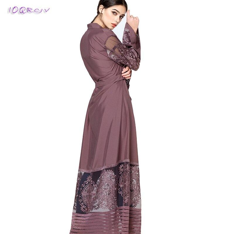 Robe d'été 2018 broderie Net fil grande taille robe longue Cardigan robe élégante manches longues printemps robe femme IOQRCJV T42