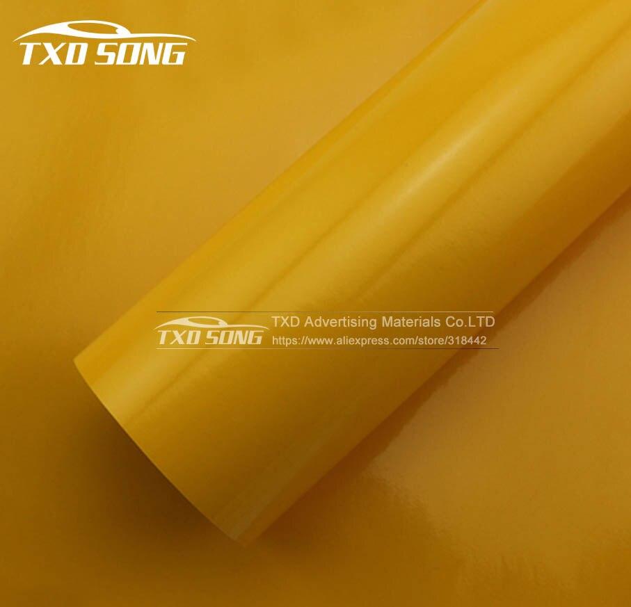 Meilleure qualité autocollant de voiture en vinyle brillant jaune avec bulles d'air gratuit film d'emballage brillant 1.52*30 m par livraison gratuite