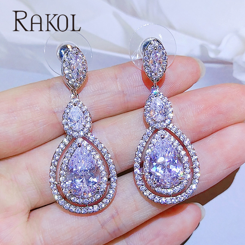 RAKOL Hot-Selling Exquisite Water Drop Shaped Cubic Zircon Drop Earrings For Women Party Dress Jewelry Accessories RE23135