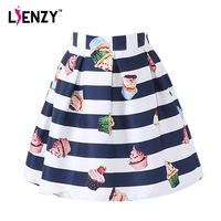 LIENZY 2016 Summer Striped Women Skirt White Blue Fringe Cake Print Women Short Pleated Skirt Real
