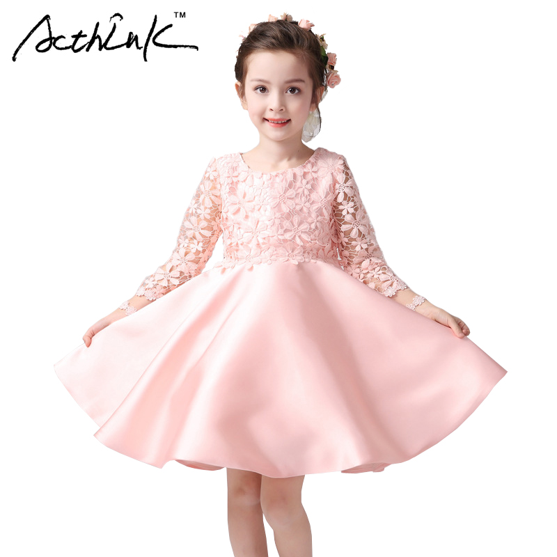 ActhInK Girls New Floral Pink Dress with Bowtie Brand Kids Princess Style Long Sleeve Frocks for Girls Formal Party Dress, MC088 acthink new arrival girls formal summer wedding sleeveless clothing set brand kids formal waistcoat suit for teen girls zc003