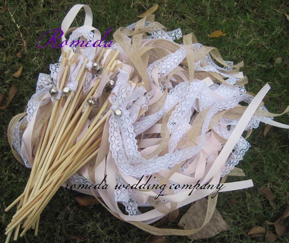 50pcs lot Jute wedding wands barlap wedding sticks For Wedding Decoration