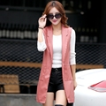 2016 Autumn new medium-long vest female leather women fashion outerwear vest