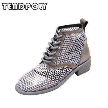 New casual women's sandals summer hot mesh round head hollow straps Rome flat bottom boots comfortable breathable women's shoes
