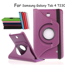 Tablet Case For Samsung Galaxy Tab 4 7.0 T230 T231 Case 360 Degree Rotating Case Licheen PU Leather Cover Stand For 7.0 SM-T235