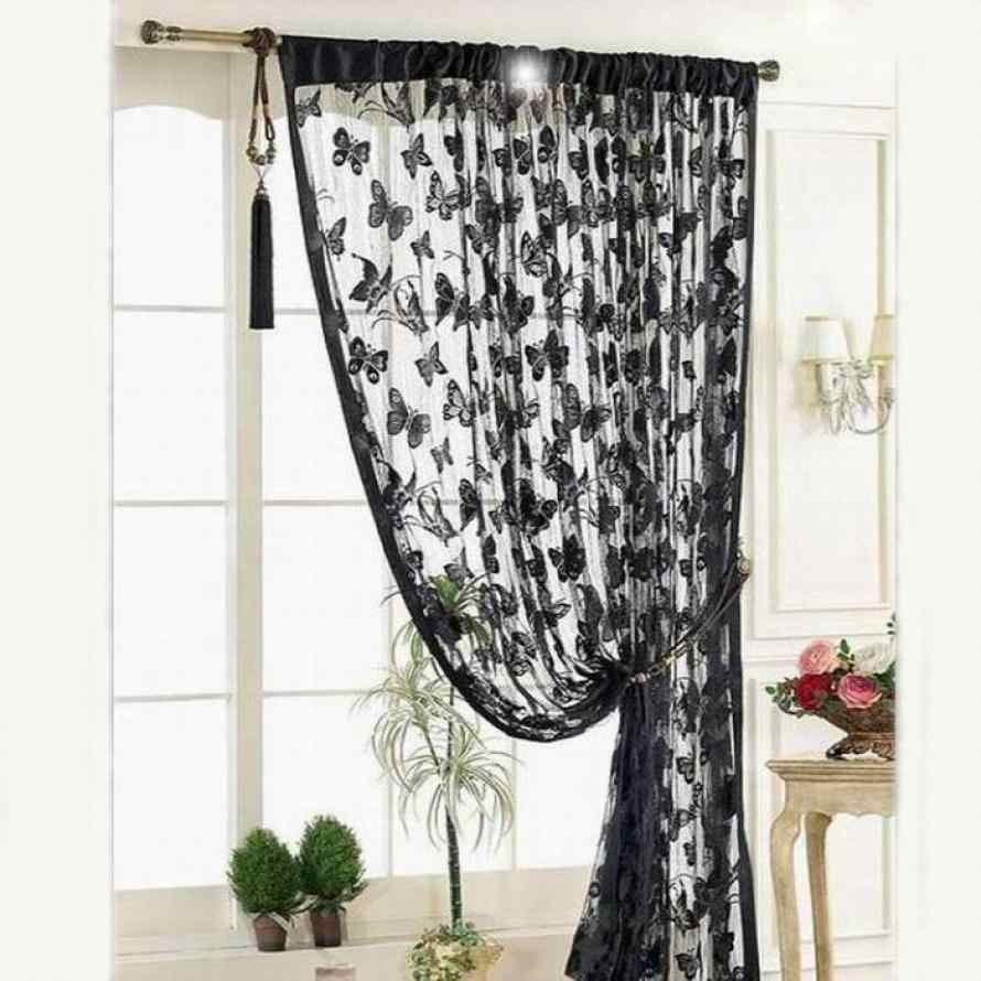 Window Curtain New Door Window Curtain Room Divider Strip Tassel Butterfly Pattern Window Curtain dropshipping 18may16