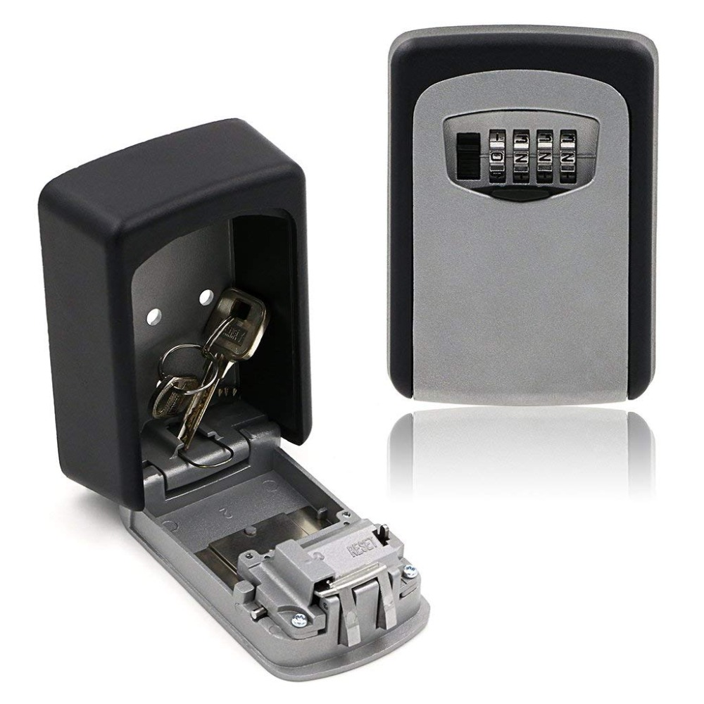 Key Lock Box, House Key Storage Lock Box With 4 Digits Combination Outdoor Key Safe Lock Box For Outside Sturdy Wall Mounted