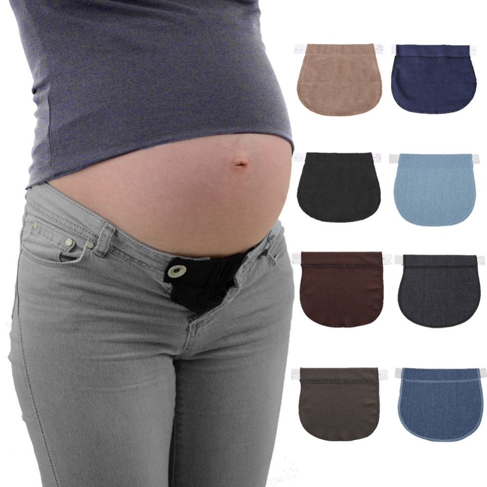 Maternity Pregnancy Waistband Belt Soft Adjustable Elastic Pants Lengthening Waist Extenders Button Mother Loose Pants Belt pocket side elastic waist pants