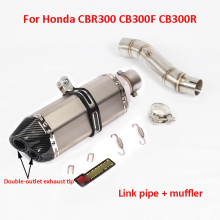 CBR300 CB300F Motorcycle Exhaust System Muffler Tip Dual Outlet Pipe Middle Mid Link For Honda CB300R