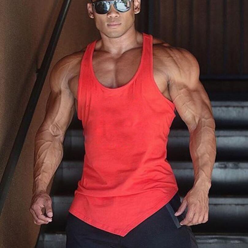 Marca de Color sólido ropa Gyms tank top hombres Fitness camiseta sin mangas algodón blanco musculosa body building Stringer Tanktop