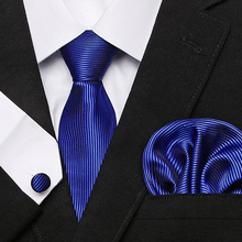 2019 Fashion Black blue Plaid Tie Hanky Cufflinks 100% Silk Neckties Ties For Men Formal Business Wedding Party