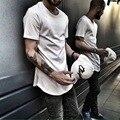 ZSIIBO TX135-C hombres Camiseta Kanye West Amplió Barrido Ronda T-Shirt dobladillo curvado largo line tops hip hop urbano blanco justin bieber