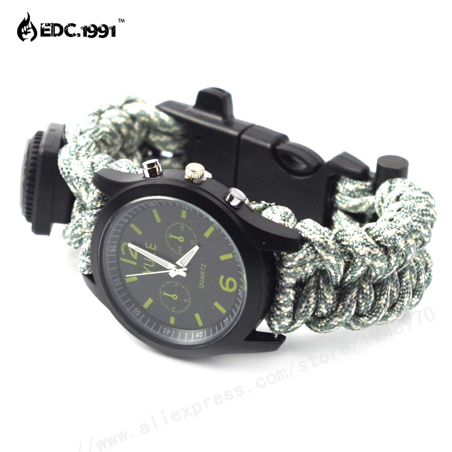 online buy whole survival compass watch from survival highest quality paracord survival watch 2016 outdoor travel kit camping flint fire starter compass watch survival
