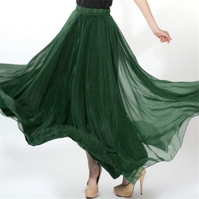 2016 New Fashion New Retro Lady Full Circle Gauze Chiffon Long Skirt Pleated Long Maxi Skirt
