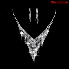 RNAFASHION Crystal Bridal Jewelry Sets Silver Color Rhinesto